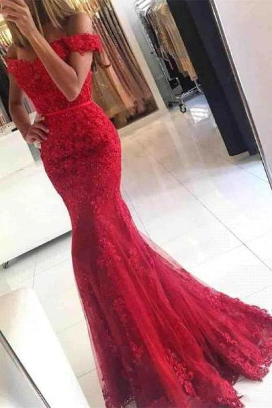 Petite Long Sleeves Applique Lace Mermaid Ball Gown Evening Dress/Prom Dress