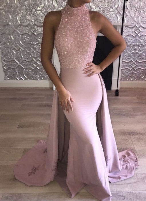 Bridelily Glittering Pink Mermaid Prom Dresses | High Neck Evening Gown with Overskirt - Prom Dresses