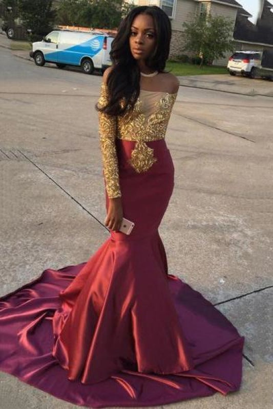 Plus Size 2019 Mermaid Sequined Applique Long Sleeves Off the Shoulder Short Lace Evening Dress/Prom Dress