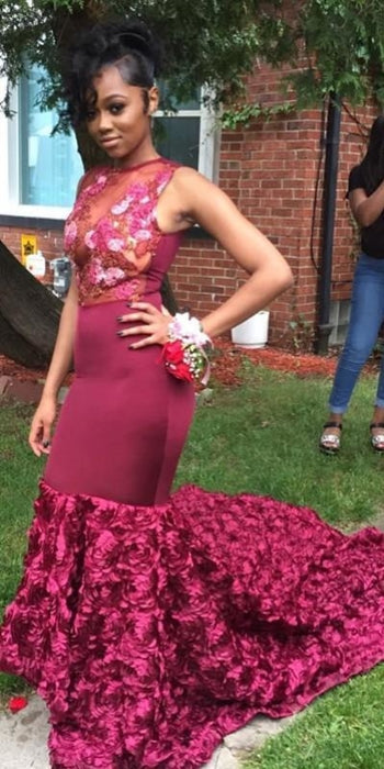 Bridelily Gorgeous Burgundy Mermaid Prom Dresses | Sexy Evening Gowns with Flowers Skirt - Prom Dresses