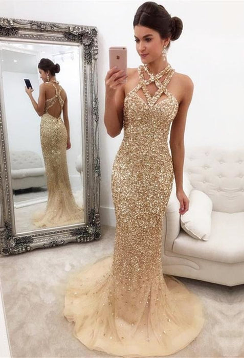 Bridelily Gorgeous Crystals Mermaid Sleeveless Halter Zipper-Back Prom Dress - Prom Dresses