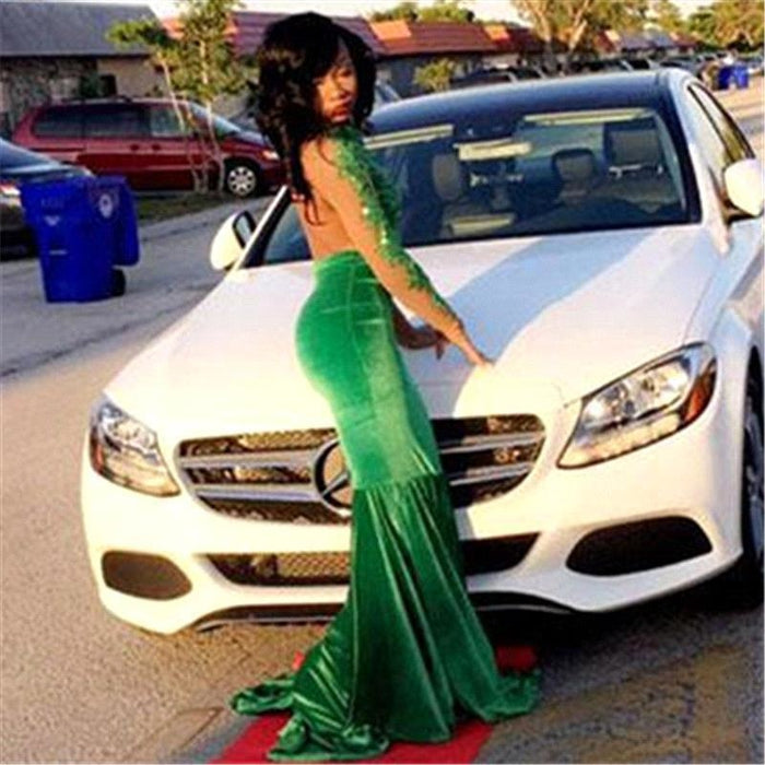 Bridelily Gorgeous Green Long-Sleeve Lace Appliques Split Mermaid Prom Dress - Prom Dresses