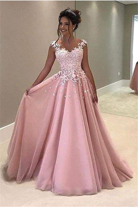 Bridelily Gorgeous Pink Lace Appliques V-Neck A-Line Cap-Sleeves Prom Dress - Prom Dresses