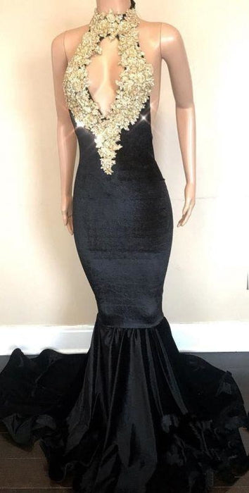 Bridelily Halter Backless Sparkling Sequins Prom Dresses | Mermaid Beads Appliques Sexy Evening Gowns FB0333-MQ0 - Prom Dresses