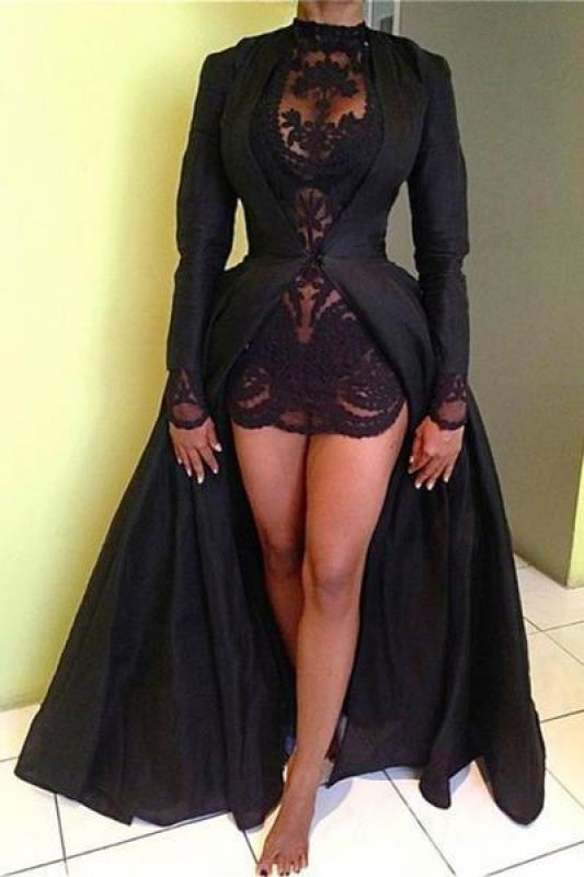 Plus Size Fitted Mermaid Lace Long Sleeves Short Collared Evening Dress/Prom Dress