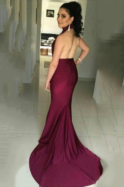 Bridelily High Collar Simple Burgundy Evening Dress Halter Open Back Sleeveless Prom Dress - Prom Dresses