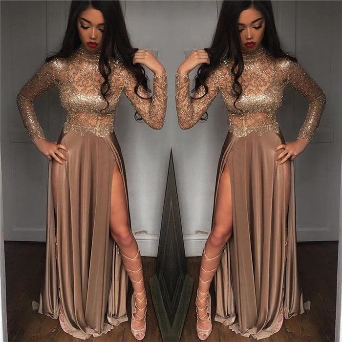 Bridelily High Neck Champagne Gold Sexy Evening Dress Splits Long Sleeve Illusion Prom Dress 2019 FB0061 - Prom Dresses