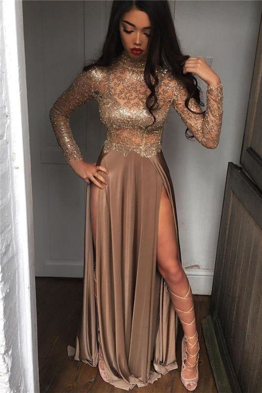 Plus Size Sexy Strapless High-Neck Long Sleeves Backless Sequined Illusion 2019 Floor Length Satin Mermaid Evening Dress/Prom Dress