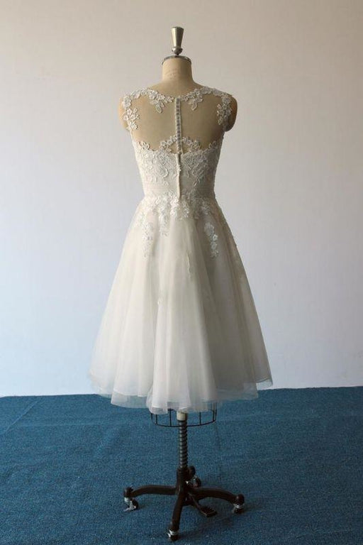 Bridelily Illusion Lace Tulle A-Line Mini Wedding Dress - wedding dresses