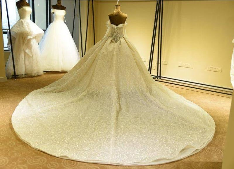 Bridelily Long Sleeve Lace-up Tulle Ball Gown Wedding Dress - wedding dresses