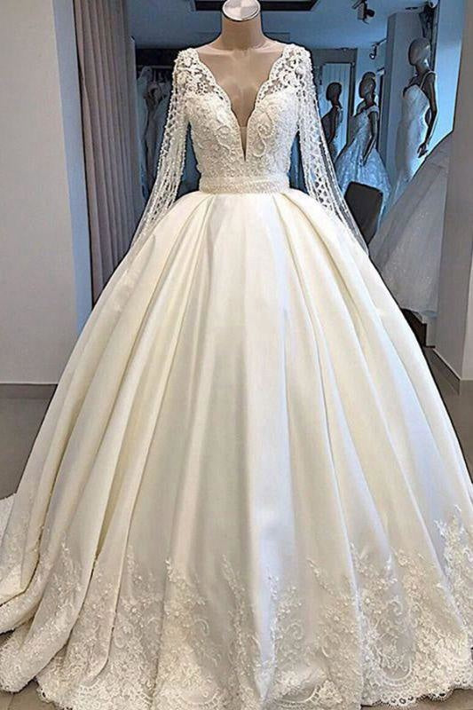 A-line V-neck High-Neck Illusion Long Sleeves Off the Shoulder Ball Gown Beach Dress/Wedding Dress