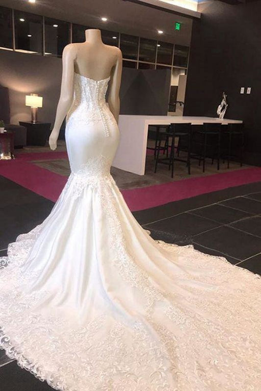 Bridelily Luxury Sweetheart Appliques Mermaid Wedding Dress - wedding dresses