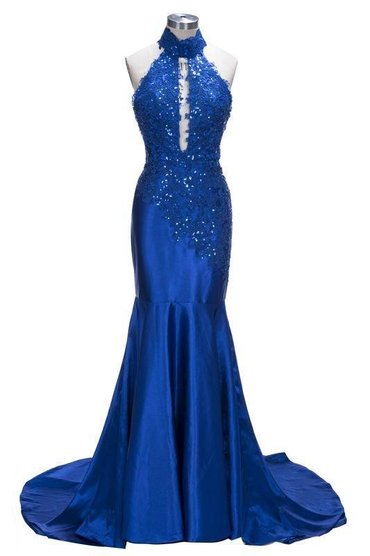Bridelily Mermaid Floor Length Halter Keyhole Neckline Sequined Prom Dresses - Prom Dresses