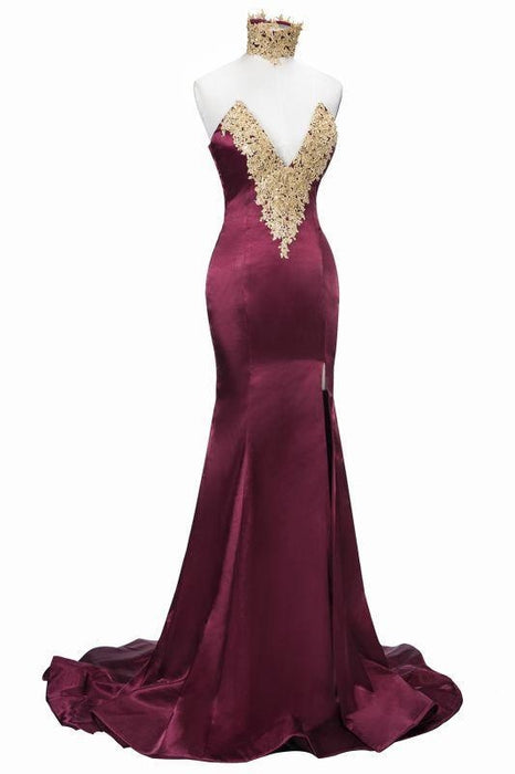 Bridelily Mermaid High Neck Front-Split Burgundy Lace Appliques Prom Dresses - Prom Dresses