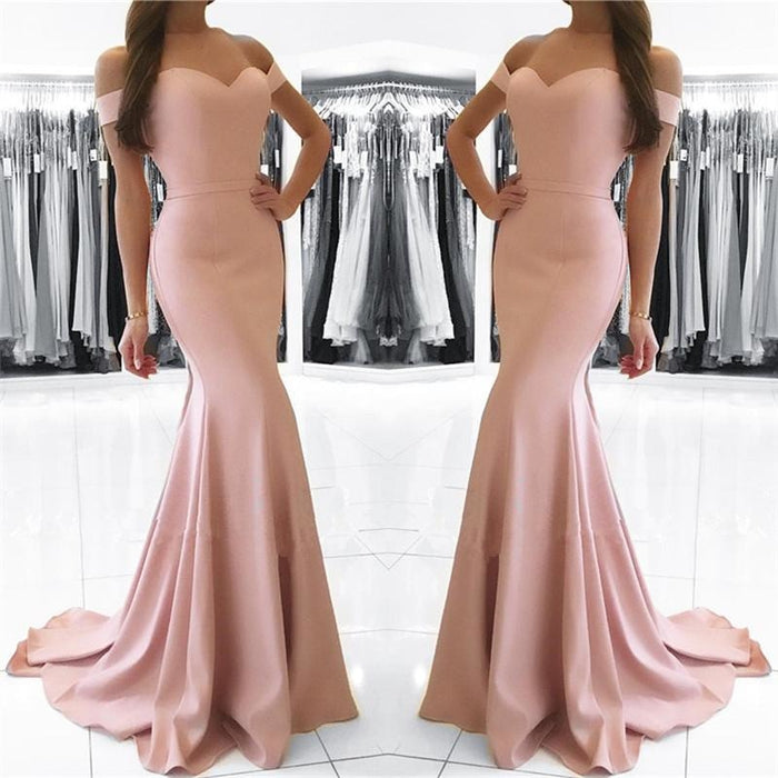 Bridelily Mermaid Pink Off The Shoulder Formal Dress Simpe Elegant Long Evening Dress 2019 FB0082 - Prom Dresses