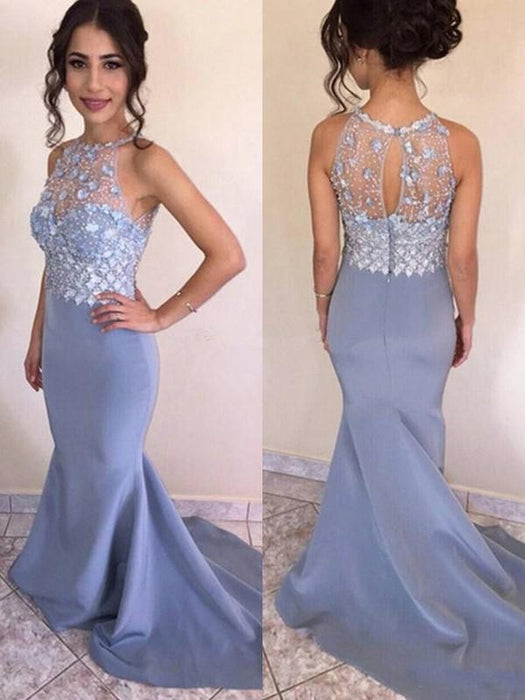 Bridelily Mermaid Sleeveless Jewel Sweep/Brush Train Crystal Satin Dresses - Prom Dresses