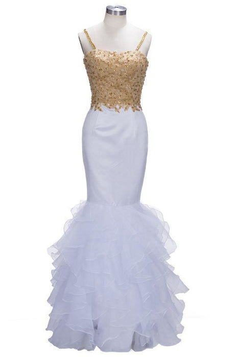 Bridelily Mermaid Spaghetti Sweetheart Long Tulle Prom Dresses with Crystals - Prom Dresses