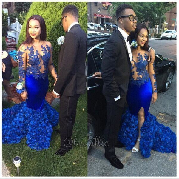 Bridelily Modern Long Sleeve Royal Blue Prom Dresses 2019 Mermaid Woemns Party Gowns BK0 - Prom Dresses