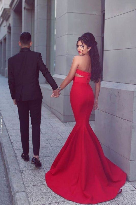 Bridelily New Arrival Sexy Mermaid Sweetheart Sleeveless Red Long Evening Dresses - Prom Dresses