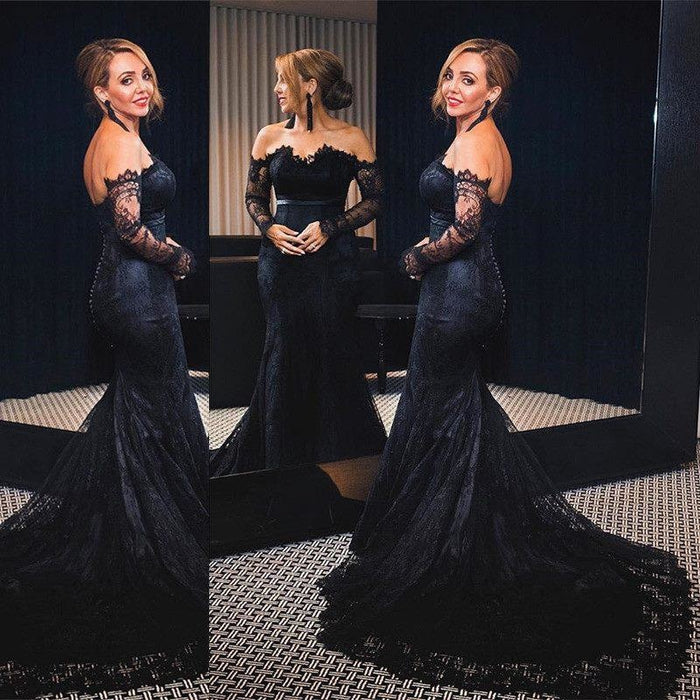 Bridelily Off-shoulder Long Sleeves V-neck Lace Sweep-train Mermaid Prom Dresses - Prom Dresses