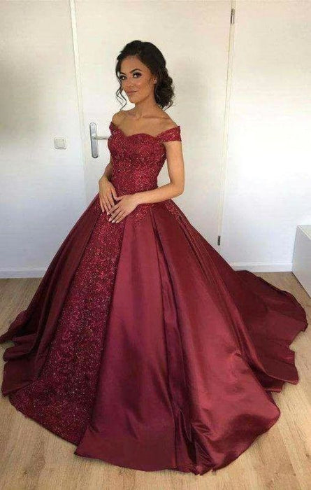 Bridelily Off-the-Shoulder Burgundy Lace Appliques Ball-Gown Evening Dress - Prom Dresses
