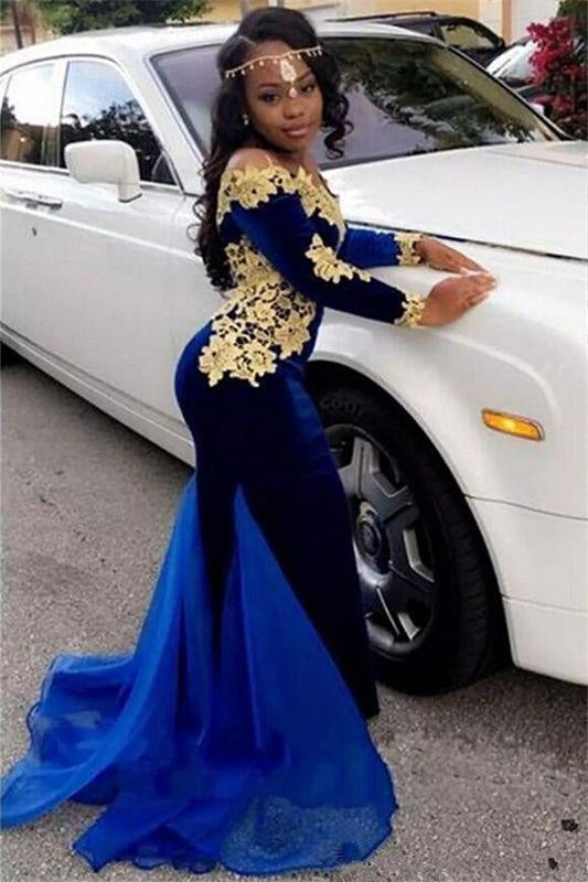 Sexy 2019 Long Sleeves Off the Shoulder Mermaid Sequined Ball Gown Evening Dress/Prom Dress