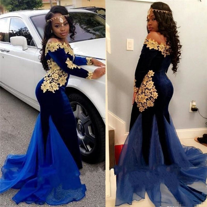 Bridelily Off The Shoulder Gold Lace Prom Dress | 2019 Royal Blue Velvet Sexy Evening Gown FB0321 - Prom Dresses