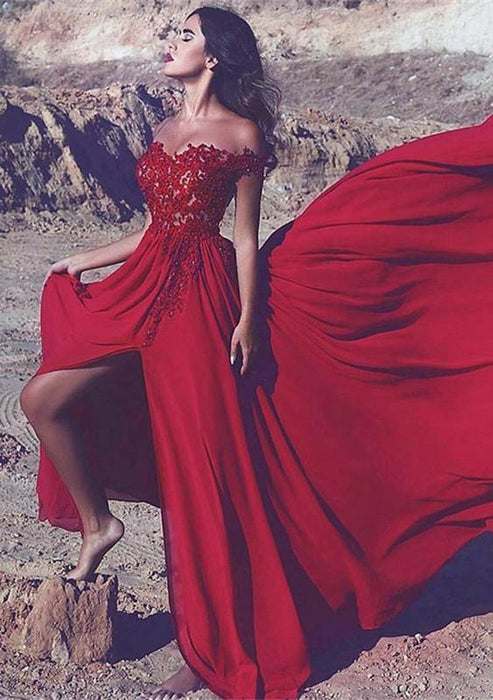 Bridelily Off-the-Shoulder Red Lace Appliques Long Split Prom Dress - Prom Dresses