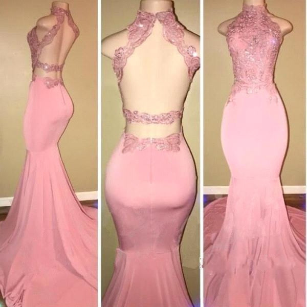 Bridelily Pink High-Neck Mermaid Open-Back Long Prom Dresses - Prom Dresses