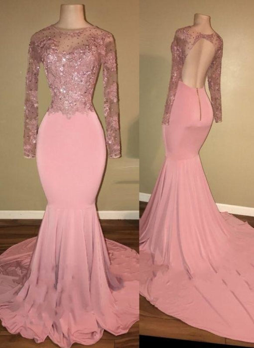 Bridelily Pink Long-Sleeves Backless Beaded Mermaid Shiny Prom Dresses - Prom Dresses