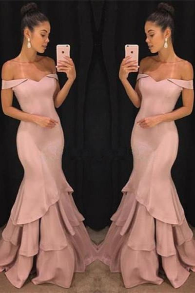 Bridelily Pink Off-the-Shoulder Mermaid Prom Dresses 2019 Tiered Simple Evening Gowns SK0118-GA0 - Prom Dresses