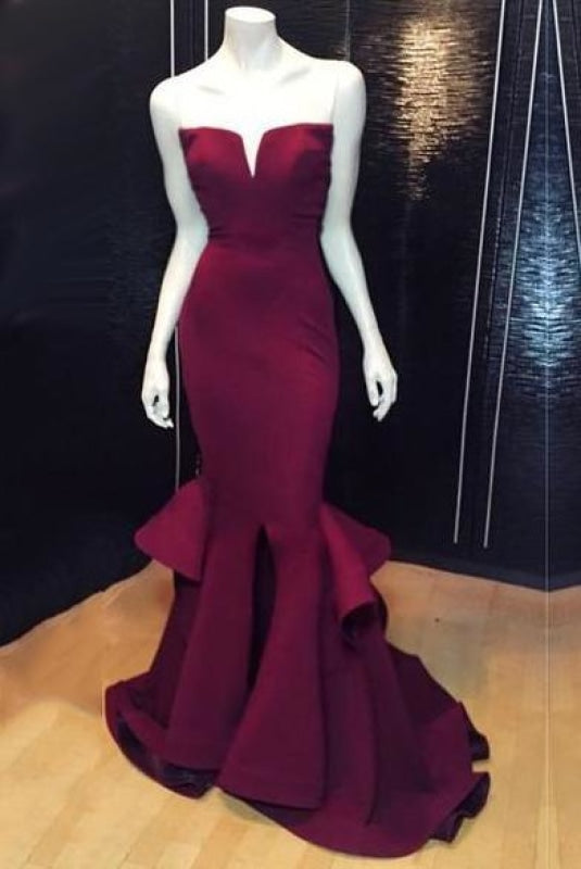Sexy V-neck Slit Mermaid High-Neck Notched Collar Long Sleeves Lace Evening Dress/Prom Dress