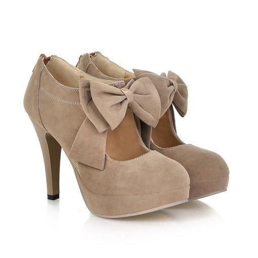 Bridelily Round Toe Bowtie Hollow Stiletto Heel Womens Boots - US 5 / Taupe - wedding pumps