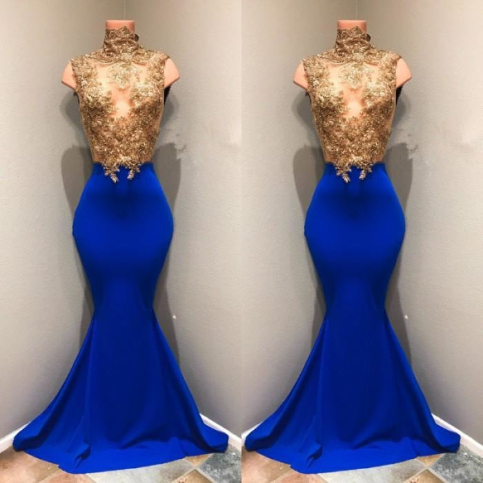 Bridelily Royal-blue 2019 Prom Dress 2019 Lace Appliques Evening Dress RM0 - Prom Dresses