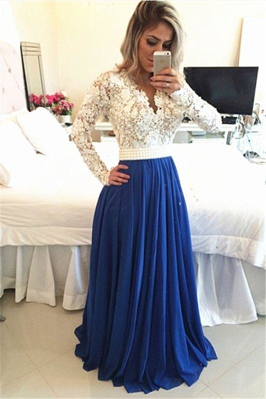 Bridelily Royal Blue Lace V Neck Popular Evening Dress with Long Sleeve Pearl Belt Long Prom Dresses BMT017 - Prom Dresses