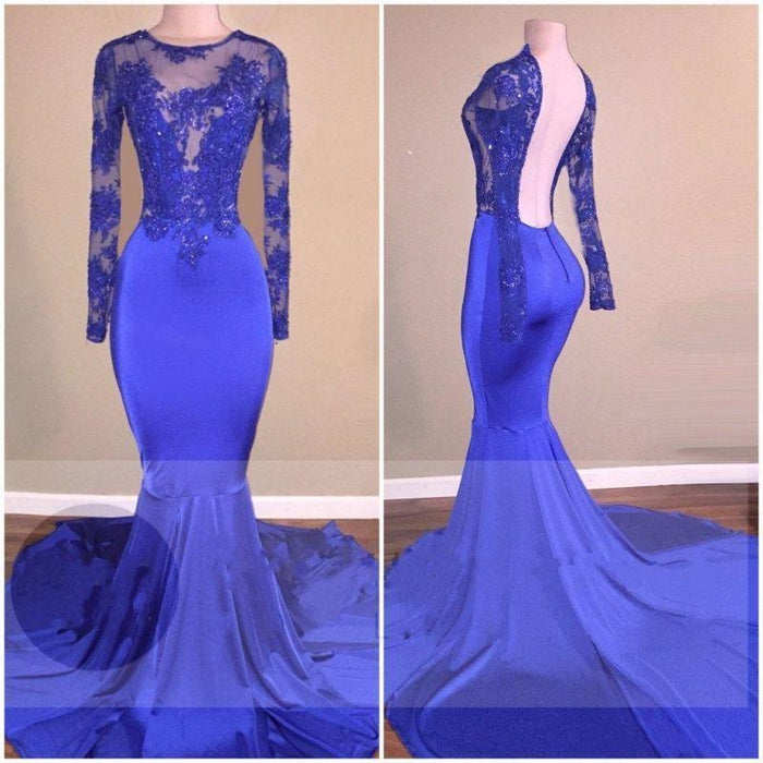 Bridelily Royal-Blue Long-Sleeves Open-Back Mermaid Shiny Sheer Prom Dresses - Prom Dresses