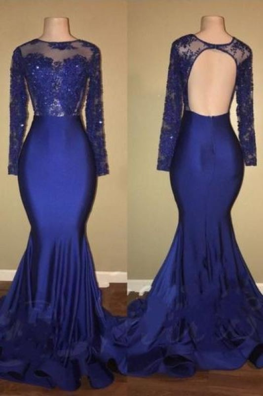 Plus Size Mermaid Flowy Beaded Long Sleeves Ball Gown Evening Dress/Prom Dress/Party Dress With Ruffles