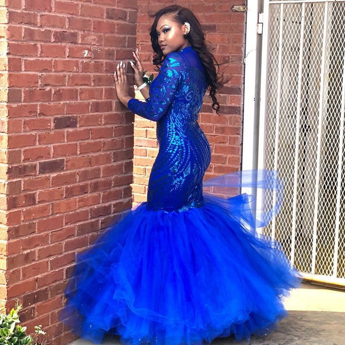 Bridelily Royal-Blue Mermaid Prom Dress | Long Sleeve Sequins Party Gowns BK0 - Prom Dresses