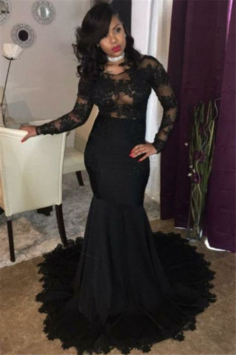 Bridelily Sexy Black Lace Tulle Prom Dresses | Mermaid Long Sleeve Cheap Evening Gown 2019 FB0277 - Prom Dresses
