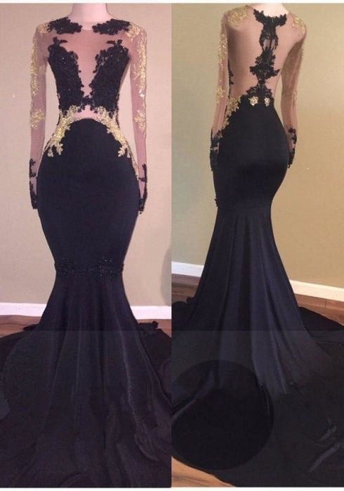 Bridelily Sexy Black Long-Sleeve Lace Mermaid Zipper Prom Dress - Prom Dresses