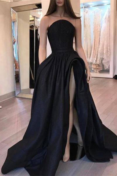 Bridelily Sexy Black Slit Sleeveless Designer Evening Dress - Prom Dresses