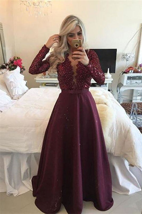 Bridelily Sexy Burgundy Long-Sleeves Lace A-Line Beadings Prom Dress - Prom Dresses
