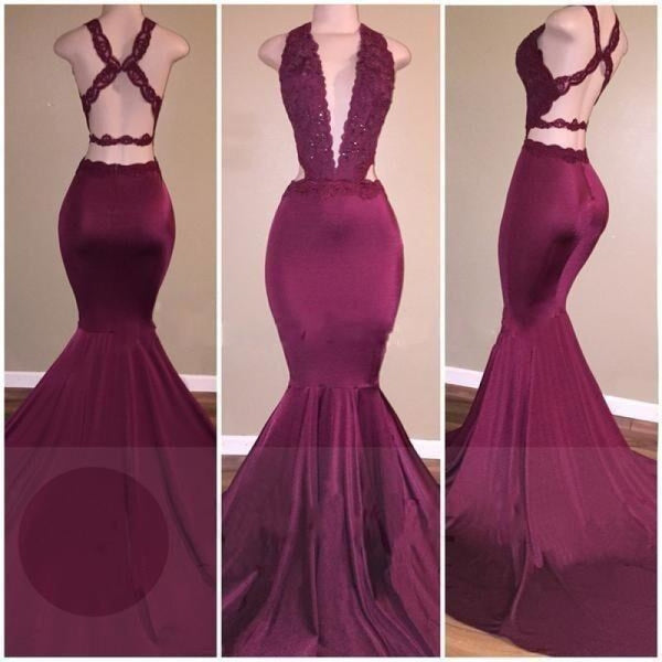 Bridelily Sexy Deep-V-Neck Beading Cross-Back Mermaid Prom Dresses - Prom Dresses