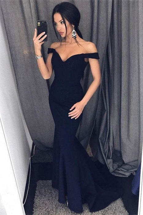 Bridelily Sexy Mermaid Evening Dresses Off-the-Shoulder V-Neck Long Prom Dresses - Prom Dresses
