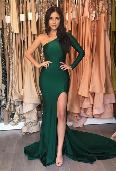 Bridelily Sexy Mermaid One-Shoulder Front-Split Sweep-Train Prom Dress - Prom Dresses
