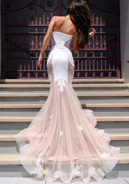 Bridelily Sexy Mermaid Sweetheart Tulle Long Evening Dress Lace Custom Made 2019 Evening Party Dresses - Prom Dresses