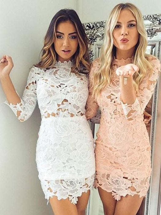 Bridelily Sheath Lace With Applique High Neck 3/4 Sleeves Short/Mini Dresses - Prom Dresses
