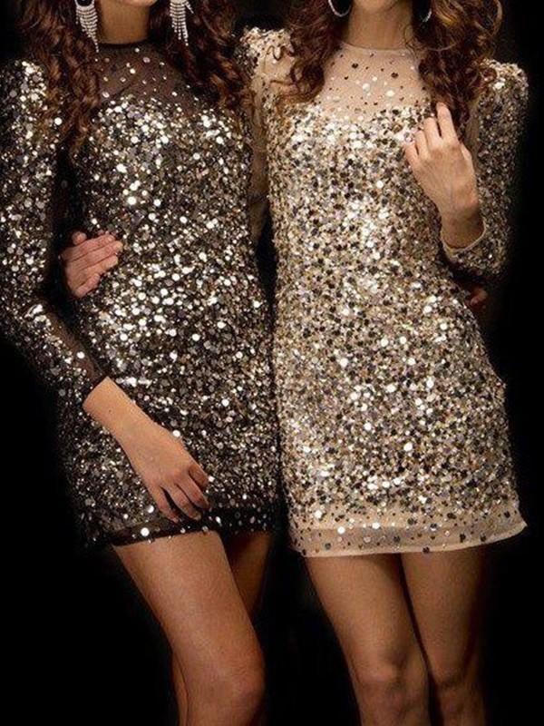 Bridelily Sheath Long Sleeves Bateau Sequins With Beading Short/Mini Dresses - Prom Dresses