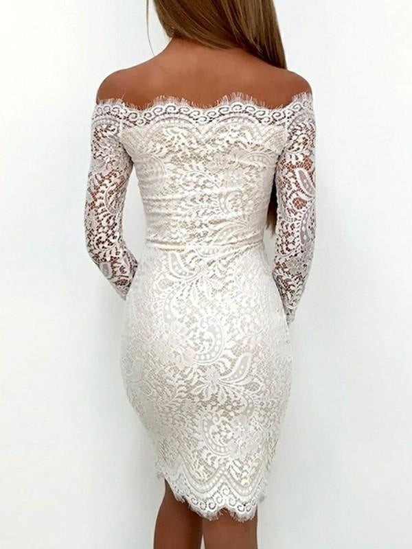 Plus Size Cocktail Short Sheath Mermaid Lace Long Sleeves Ball Gown Sheath Dress/Prom Dress