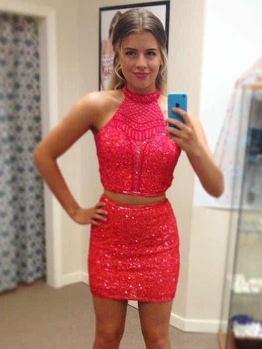 Bridelily Sheath Sleeveless Halter Sequin With Beading Short/Mini Two Piece Dresses - Prom Dresses